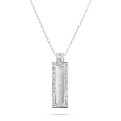 Rectangle CZ Necklace with complimentary Filigree Heart Box