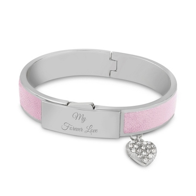 Silver and Pink Leather Bangle with complimentary Classic Beveled Edge Round Keepsake Box