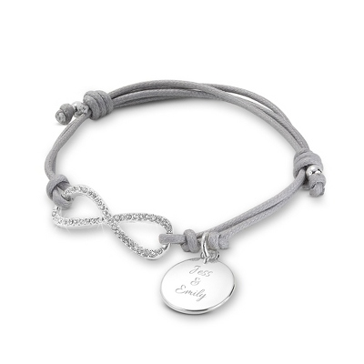 Grey Infinity Personalized Friendship Bracelet with complimentary Filigree Keepsake Box