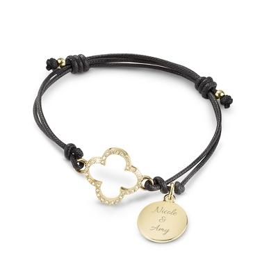 Black Quatrefoil Friendship Bracelet with complimentary Filigree Keepsake Box
