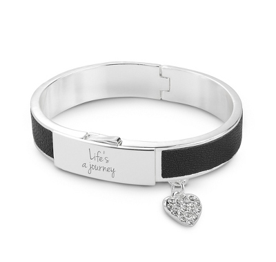 Silver and Black Leather Bangle with Heart Charm with complimentary Filigree Keepsake Box