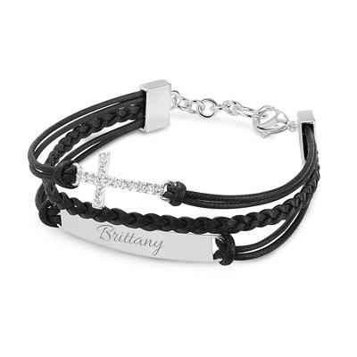 Multi Strand Leather Cross Bracelet with complimentary Filigree Keepsake Box - UPC 825008045552