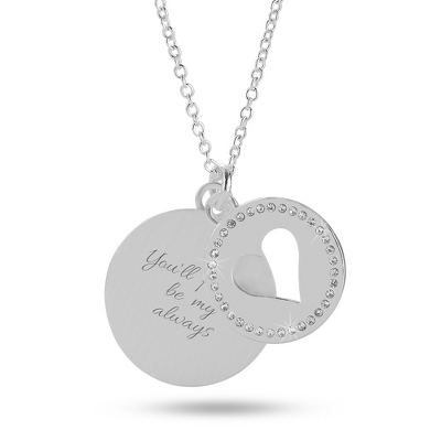 Personalized Silver Heart Swing Necklace with complimentary Filigree Keepsake Box