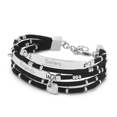 Silver and Black Leather ID Bracelet with complimentary Filigree Keepsake Box