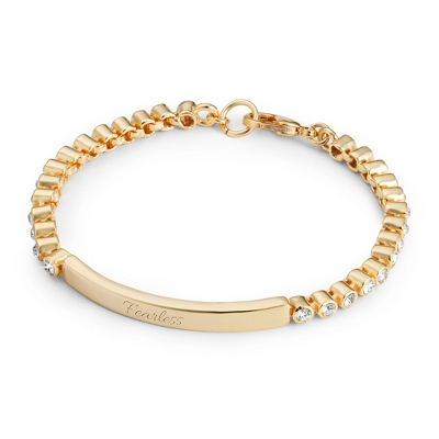 Gold Crystal Bezel ID Bracelet with complimentary Filigree Heart Box - UPC 825008045637