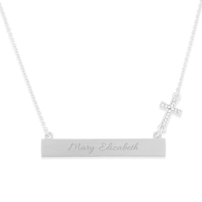 Engraved Bar Necklace with Cross Charm with complimentary Filigree Keepsake Box