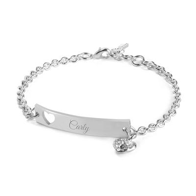 Pierced Heart Engraved ID Bar Bracelet with complimentary Filigree Keepsake Box - $15.00