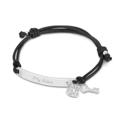 Black Friendship Bracelet with Heart and Key Charm with complimentary Filigree Keepsake Box