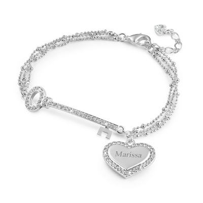 Silver Heart and Key Bracelet
