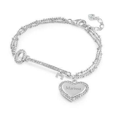 Silver Heart and Key Bracelet - UPC 825008045781