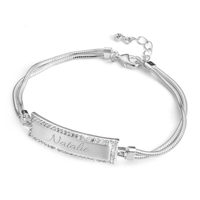 Rectangle ID Bracelet with Bling Edge