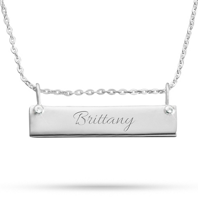 Sterling Silver ID Bar Necklace with complimentary Filigree Keepsake Box
