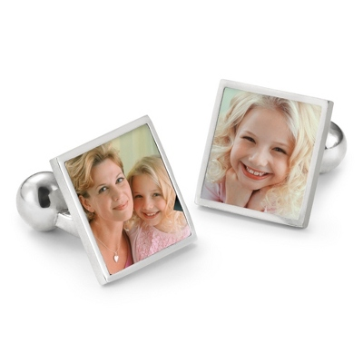 Sterling Silver Custom Photo Cuff Links with complimentary Weave Texture Valet Box