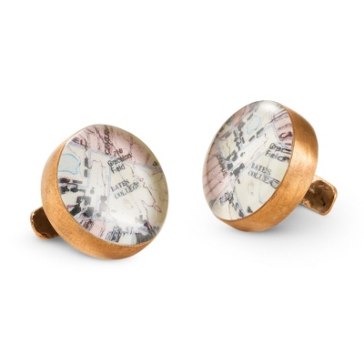 Bronze Custom Map Cuff Links with complimentary Tri Tone Valet Box