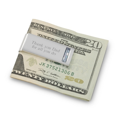 Platinum Grey Mother of Pearl Money Clip - $50.00