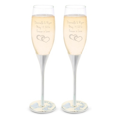Butterfly Bliss Personalized Toasting Flutes - Signature Wedding