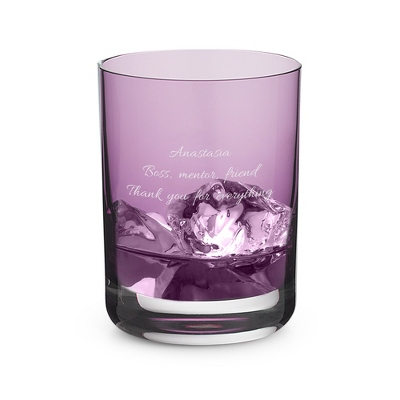 Engraved Violet Double Old Fashioned Glass - UPC 825008052345