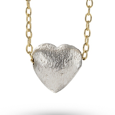 Sterling Silver Hand Brushed Heart Pillow Necklace with complimentary Filigree Keepsake Box