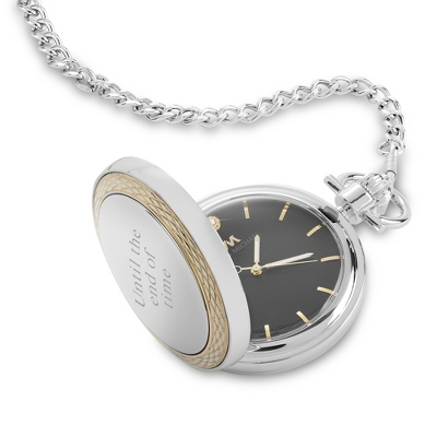 Two Tone Pocket Watch with Diamond Dial - UPC 825008052550