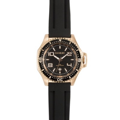 Rose Gold and Black Silicon Strap Wrist Watch with complimentary Black Lacquer Wrist Watch Box - UPC 825008052628