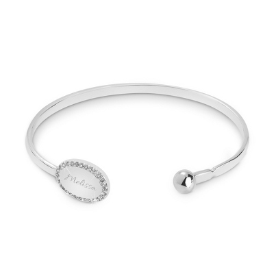 Oval CZ Open Cuff Bangle with complimentary Classic Beveled Edge Round Keepsake Box