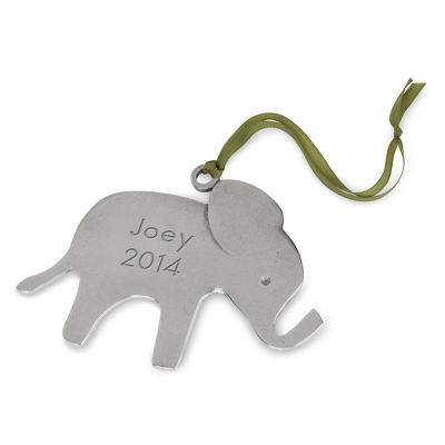 Personalized Pewter Elephant Christmas Ornament