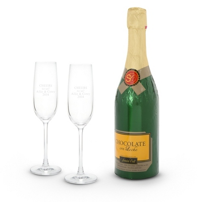 Engravable Champagne Flutes and Chocolate Champagne Bottle - UPC 825008055896