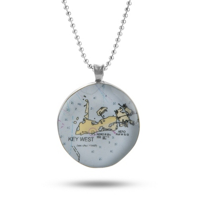 Sterling Silver Classic Custom Map Necklace with complimentary Filigree Keepsake Box - Sterling Silver Necklaces