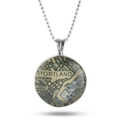Sterling Silver Custom Map Beaded Necklace with complimentary Filigree Keepsake Box - Sterling Silver Necklaces