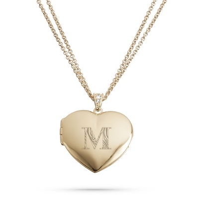 Personalized Gold Heart Locket with Initial & Engraving - Bridesmaid Jewelry