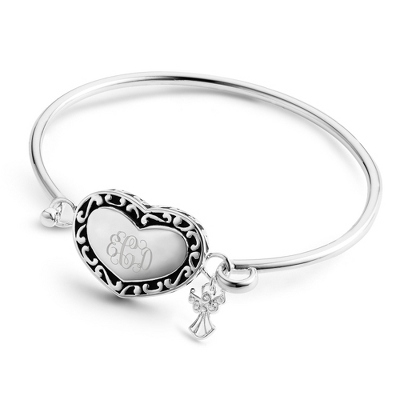 Personalized Heart and Angel Bracelet with Monogram