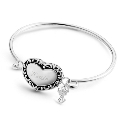 Personalized Heart and Angel Bracelet with Engraved Name