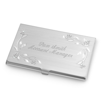 Leaves & Vines Personalized Card Case with Name and Title