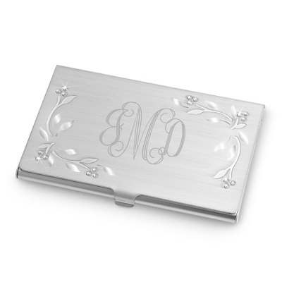Leaves & Vines Card Case with Monogram, Name and Title