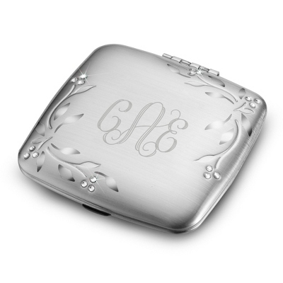Engraved Leaves & Vines Compact Mirror with Monogram