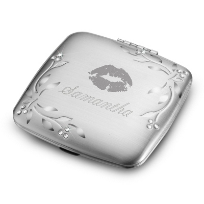 Engraved Leaves & Vines Compact with Name & Design
