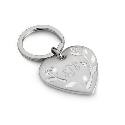 Leaves & Vines Engraved Key Chain with Monogram