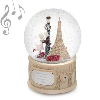 Paris Scene Musical Snow Globe - Wedding & Anniversary Snow Globes