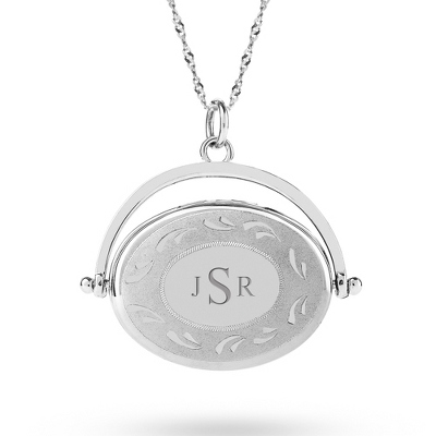 Sterling Silver 20MM Oval Vintage Locket with complimentary Classic Beveled Edge Round Keepsake Box