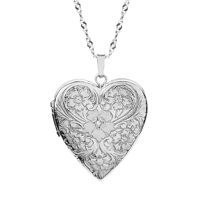 Sterling Silver 20MM Embossed Floral 4-Photo Locket with complimentary Classic Beveled Edge Round Keepsake Box