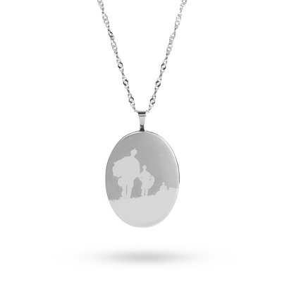 Sterling Silver 20MM Oval Army Locket with complimentary Classic Beveled Edge Round Keepsake Box