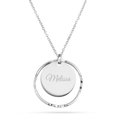 Dual Circle Pendant Platinum and Sterling Necklace - UPC 825008058477