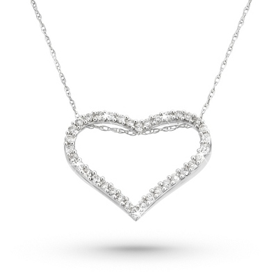 Floating Heart Necklace with .33 CT Diamonds - Sterling Silver Jewelry