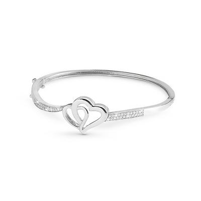 Sterling .25 CT Diamond Heart Bangle Bracelet