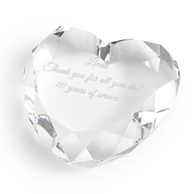 Heart Shaped Crystal Paperweight - $35.00
