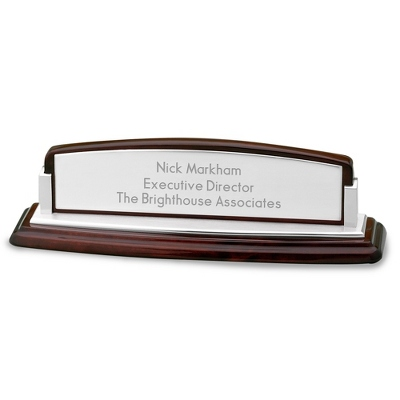 Mahogany Wood Office Desk Name Bar - UPC 825008058637