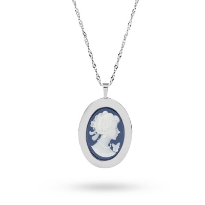 Sterling Silver 20MM Blue Cameo Locket with complimentary Classic Beveled Edge Round Keepsake Box