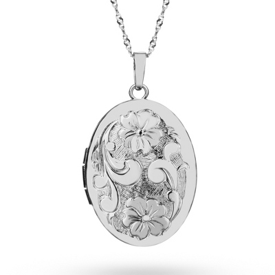 Sterling Silver Oval Floral Locket with complimentary Classic Beveled Edge Round Keepsake Box