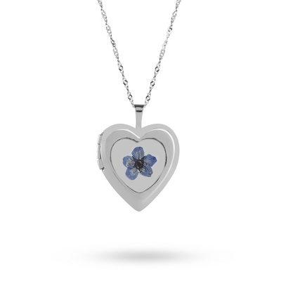 Sterling Silver 20MM Forget-Me-Not Heart Locket with complimentary Classic Beveled Edge Round Keepsake Box