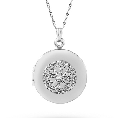 Sterling Silver 20MM Fancy Round Locket with complimentary Classic Beveled Edge Round Keepsake Box